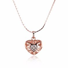 Clear CZ Rhinestone 3D Heart Woman  Golden jewelry pendent Necklace Colar de Ouro gift boxes pouches free shipping