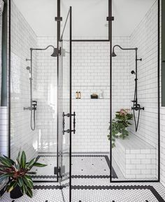 Home Interior Design black and white bathroom walk in shower with built in seat.Home Interior Design black and white bathroom walk in shower with built in seat