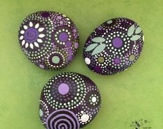 Painted Rocks Mandala Inspired Design Natural by etherealandearth