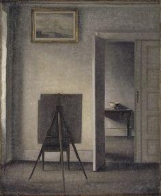 Vilhelm Hammershøi, Interior with Easel, 1910