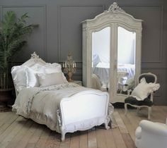 STAGING & STYLING :: Amazing white romantic French bedroom. Is that armoire not FABULOUS?! As is the bed frame! I want that bed frame! Actually, I want everything in this room!   #fullbloomcottage (<---amazing French decor blog!)