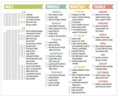 Daily, weekly, monthly, and yearly cleaning checklist. Mine would be different chores but I LOVE this layout