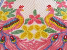 Chenille Bedspread Double Peacocks Vintage 103 x 94 Nice Cond.