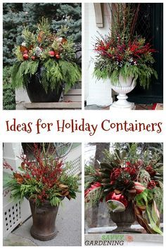 Container Garden Ideas and Inspiration Discover how easy it is to build a beautiful winter container with these winter container garden ideas.Discover how easy it is to build a beautiful winter container with these winter container garden ideas. Outdoor Christmas Planters, Christmas Urns, Front Door Christmas Decorations, Christmas Garden, Rustic Christmas, Christmas Home, Christmas Holidays, Christmas Wreaths, Christmas Crafts
