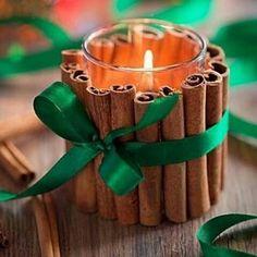"""617 Likes, 1 Comments - Oficina de ideias (@oficinaeideias) on Instagram: """"Um copo, uma vela, canelas e fita se transformam numa linda luminária. via Pinterest…"""""""