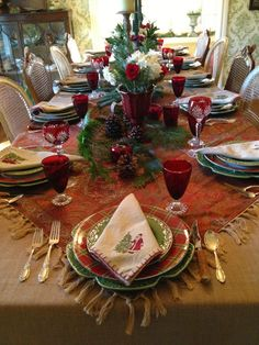 The inspiration behind the Christmas 2012 tablescape were two fringed cotton paisley tablecloths that I found on sale at Pottery Barn, la. Christmas Table Settings, Christmas Tablescapes, Christmas Table Decorations, Holiday Tables, Decoration Table, Christmas China, Christmas Dishes, All Things Christmas, Christmas Holidays