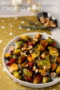 A delicious twist on sprouts with bacon, adding the smoky flavour of chorizo and the nutty crunch of hazelnuts to golden roasted Brussels sprouts. A hit with even the most ardent sprout-avoiders! Sprout Recipes, Plant Based Recipes, Sprouts With Bacon, Cucumber Salad, Chorizo, Low Carb Keto, Food Photography, Roast, Meals