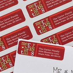 LOVE LOVE LOVE the font and design of these Merry Christmas© Return Address Labels! PMall has the cutest stuff and their Christmas Card Sale is going on right now! #Christmas #Address #Labels #Font