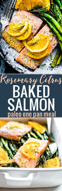 This ROSEMARY CITRUS BAKED SALMON IS a healthy one pan meal ready in 20 minutes. Fresh Rosemary, orange juice, lemon, veggies, sockeye salmon, olive oil, and spices. A deliciously nourishing meal that's simple to make. Whole 30 and paleo friendly. #paleo #easyrecipe