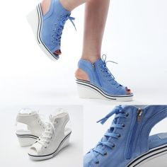 Open Toe Wedge Lace Up Sandal Sneakers | Danischoice.com