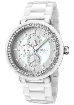 Crystal Mother Of Pearl Dial White Ceramic Watch