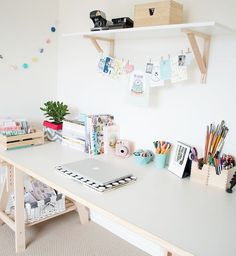 little bedroom, creative space, interior, home, office, studio, desk, white, shelf, string, pen pots