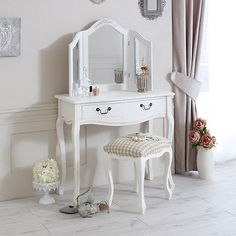 White Wooden Painted Dressing Console Vanity Table Mirror Stool Full Set Detail