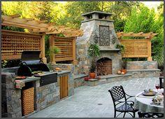 Very nice outdoor living - love stone, lattice and pergola. ....