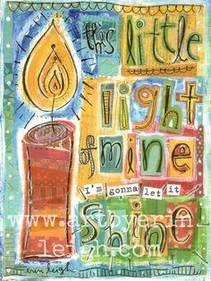 Kids Scripture Art, Sunday School Songs: This Little Light of Mine, 8 x 10 Fine Art Print, Mixed Media Collage via Etsy