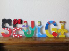 Different Characters Together Letter Art by TheLetterBug on Etsy Mdf Letters, Painting Wooden Letters, Alphabet Letters, Block Lettering, Lettering Design, Diy Invitations, Birthday Invitations, Disney Letters, Character Letters