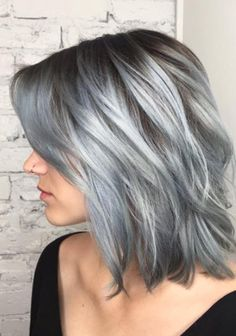 Balayage Dip Dye Remy Ombre Grey Human Clip In Hair Extensions in Silver Platinum Hair Balayage collection - HairSimply Grey Hair Cure, Blue Grey Hair, Grey Ombre Hair, Silver Grey Hair, Short Silver Hair, Grey Hair Looks, Grey Blonde, White Hair, Brown Hair
