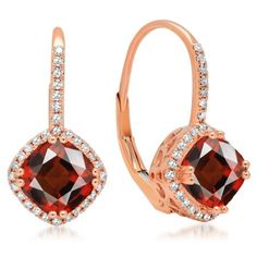 2.20 Carat (ctw) 14K Rose Gold Cushion Cut Garnet & Round Cut White Diamond Ladies Halo Style Dangling Drop Earrings #cushioncutdiamonds