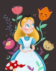 Alice in Wonderland 🍄 Arte Disney, Disney Magic, Disney Art, Lewis Carroll, Illustration Art, Illustrations, Adventures In Wonderland, Disney Toys, Disney Dream