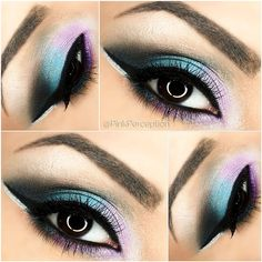 blue and purple eye makeup look Beautiful Eye Makeup, Cute Makeup, Pretty Makeup, Makeup Art, Beauty Makeup, Beauty Tips, Makeup Goals, Makeup Tips, Makeup Ideas