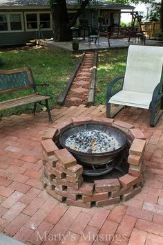 Fire Pit Made With Free Bricks and an Old Chimenea