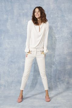 How to make an all-white outfit even more springy? Easy! Add a smattering of embroidered blooms