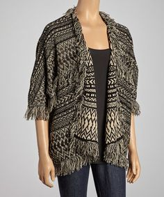 Another great find on #zulily! Beige & Black Tribal Open Cardigan by Olivia M, $40 !!  #zulilyfinds