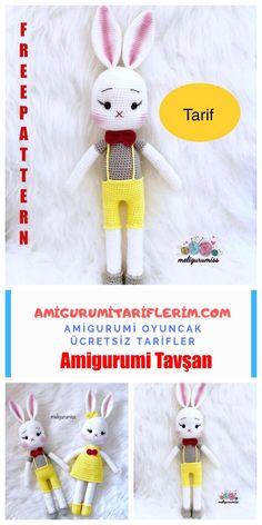 Amigurumi Cute Rabbit Making - My Amigurumi Recipes - Amigurumi Tavşan - Crochet Toys Patterns, Stuffed Toys Patterns, Crochet Dolls, Crochet For Kids, Crochet Baby, Free Crochet, Amigurumi Toys, Free Pattern, Rabbit