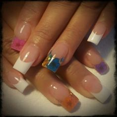 Pink and white encapsulated nails