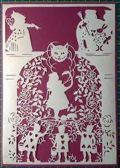 Alice in Wonderland, unframed paper cut, designed by Bramble Crafts, handcut by KnittyKnottyCrafts Kirigami, Papercut Art, Alice In Wonderland Party, Alice In Wonderland Silhouette, Paper Cutting Templates, Painting The Roses Red, Paper Cut Design, Paper Magic, Mad Hatter Tea