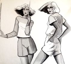 Vintage Fashion Illustration By Faye Rose 1977