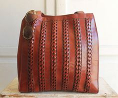 vintage Aignier woven leather tote bag oxblood by bohemiennes-SR