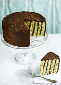 Pistachio and chocolate stripe cake: This cake is a delicious combination of flavours and it looks fantastic – a real show-stopper. It is a little tricky, but completely worth the effort. Make sure you use pistachios with a good, strong colour.