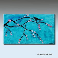 "24"" x 36"" CHERRY BLOSSOM , Bird Original Abstract Textured Painting on Canvas vibrantcanvasprints.com"