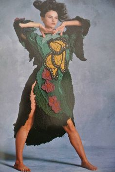 Jean Williams Cacicedo learned to crochet in the late 1960s and quickly began to make wearable art that was clearly influenced by a background in sculpture and painting.