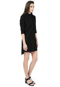 Danier Official Store, Meredith linen blend shirt dress, black, Women, 186980012