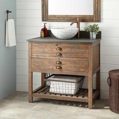 """36"""" Benoist Reclaimed Wood Vessel Sink Vanity - Gray Wash Pine"""