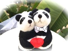 Panda cake topper panda cake topper wedding panda bear needle