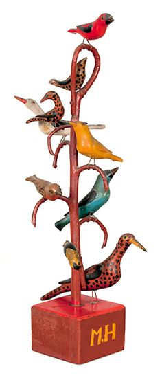Schtockschnitzler Simmons, Carved and Painted Bird Tree  $76,050