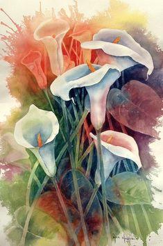 "Cara Sposa — 'Calla Lilies"", watercolor - Ann Hoffpauir on We. Watercolor Negative Painting, Watercolor Flowers, Painting & Drawing, Watercolor Paintings, Watercolours, Art Aquarelle, Arte Floral, Calla Lily, Beautiful Paintings"