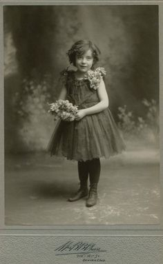 +~+~ Antique Photograph ~+~+  Sweet girl with her flowers.  Denver c. 1910