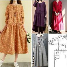 Clothing of large sizes: simple and stylish! Diy Crafts Dress, Diy Dress, Black Long Sleeve Dress, Mode Hijab, Dress Sewing Patterns, Fashion Sewing, Linen Dresses, Sewing Clothes, Clothes For Women