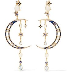 Percossi Papi Gold-plated multi-stone earrings ($1,560) ❤ liked on Polyvore featuring jewelry, earrings, gold, iridescent earrings, star earrings, handcrafted jewellery, handcrafted jewelry and gold plated jewellery