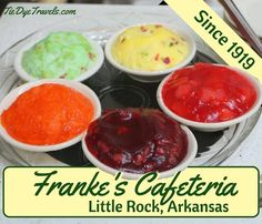 I've been updating the Tie Dye Travels website to give you a better sense of some of the classic eateries we have in our state such as Franki e's Cafeteria which offers these bright congealed salads. #congealedsalad #frankescafeteria #classiceats #arkansasfood #littlerockrestaurants #littlerockeats #littlerock