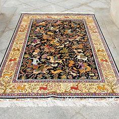 Oriental Rug, Persian, Bohemian Rug, Hunting, Area Rugs, Carpet, Silk, Amazon, Handmade