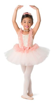 Ivory sequin mesh over ivory spandex leotard with adjustable straps. Attached multi-colored tulle over ivory tricot tutu. Glitter tulle ruffle and rosette bow trim.