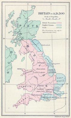 From Wikiwand: Britain in AD 500: The areas shaded pink on the map were inhabited by the Celtic Britons, here labelled Welsh. The pale blue areas in the east were controlled by Germanic tribes, whilst the pale green areas to the north were inhabited by the Gaels and Picts.