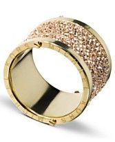 Michael Kors Ring, Gold Tone Pave Barrel Ring