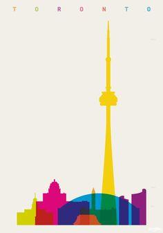 """TORONTO/""""Shapes of Cities"""". Proyecto realizado por Yoni Alter. Es un diseñador inglés que ya tiene varias colecciones más que pueden resultar tan interesantes como la que presentamos en este post, que se trata de posters que muestran los rascacielos y construcciones destacadas de distintas ciudades del mundo."""