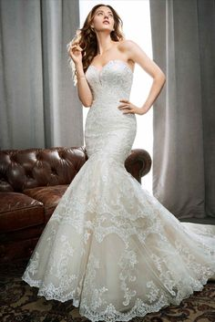 Lace mermaid with beading at strapless sweetheart neckline available off-the-rack at Silk Bridal Studio. Spring 2017 Wedding Dresses, Wedding Dress Styles, Dream Wedding Dresses, Designer Wedding Dresses, Bridal Dresses, Wedding Gowns, Bridesmaid Dresses, Little White Dresses, Perfect Wedding Dress